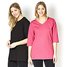 Denim & Co. Set of Two Oversized Cotton T-Shirts