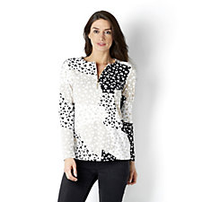 Weekend Printed Stretch Cotton 1/2 Zip Top by Susan Graver