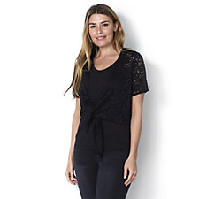 Denim & Co. Short Sleeve Tie Front Lace Shrug