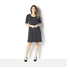 Ronni Nicole Short Sleeve Polka Dot Printed Swing Dress