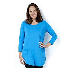 Antthony Designs 3/4 Sleeve Hi Lo Hem T Shirt with Front Pockets