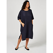 Join Clothes Bateau Neck Shift Dress with Front Pockets