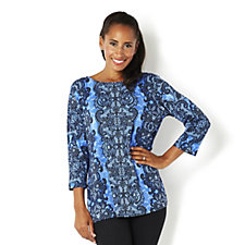 Bob Mackie Round Neck 3/4 Sleeve Lace Print Top