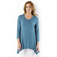 138574 - LOGO by Lori Goldstein 3/4 Sleeve Viscose Tunic with Sharkbite Hem