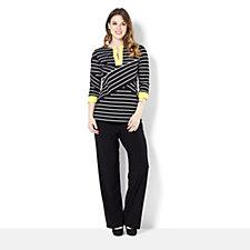 Tiana B Jersey Stripe Tunic & Plain Jersey Trouser Set