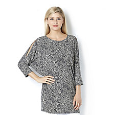 159674 - Kim & Co Mini Leaves Brazil Knit Cold Shoulder Tunic