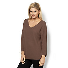 Betty & Co Textured Knit V Neck 3/4 Sleeves Top