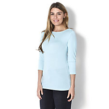 H by Halston Essentials 3/4 Sleeve Low Back Top