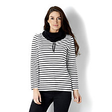 Weekend Striped Stretch Cotton Pullover Top by Susan Graver