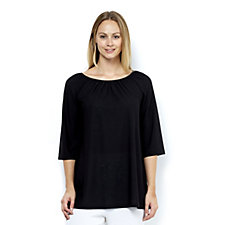 Kim & Co Pebble Crepe 3/4 Sleeve Scoop Neck Tunic
