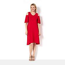 H by Halston Jet Set Jersey A Line Cold Shoulder Dress