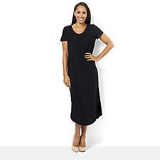 C. Wonder Curved V Neck Regular Midi Dress