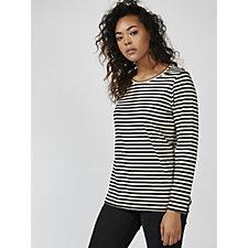 Denim & Co. Striped Jersey Scoop Neck Long Sleeve Top