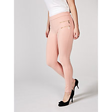 Flat Waistband Leggings with Zipper Detail by Nina Leonard