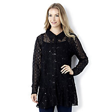Tapestry Lace Shirt with Asymmetrical Hem by Michele Hope