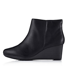 Clarks Crystal Basil Bendables Wedge Heel Leather Ankle Boot
