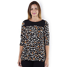Silvia Mori Long Sleeve Printed Tunic with Solid Yoke