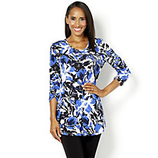 160275 - Kim & Co Mysterious Garden 3/4 Sleeve Printed V Neck Tunic