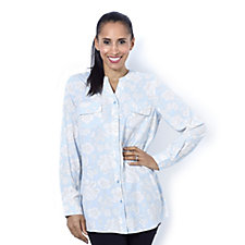 162175 - Denim & Co. Printed Y-Neck Button Front Shirt