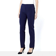 Crepe Straight Leg Pull On Trousers Regular by Nina Leonard