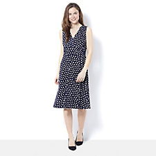 Ronni Nicole Sleeveless Polka Dot Print Wrap Dress