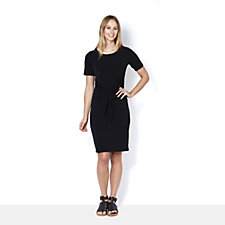 Kim & Co Brazil Knit Short Sleeve Wrap Detail Dress
