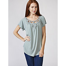 Together Crochet Neckline Top