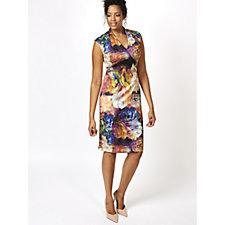 Ronni Nicole V Neck Printed Scuba Dress