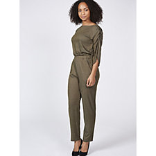 Christopher Fink French Terry Gathered Sleeve Jumpsuit