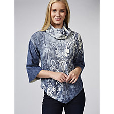 Andrew Yu Cowl Neck Lace Print Knitted Poncho Top
