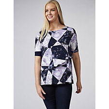 Printed Top with Layered Asymmetric Detail by Nina Leonard
