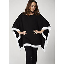 Join Clothes Contrast Colour Trim Poncho