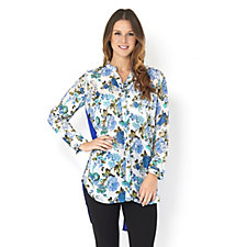 Andrew Yu Contrast Print Tunic with Zip Back