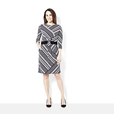 Printed Dress Banded at Waist with Two Pockets by Nina Leonard
