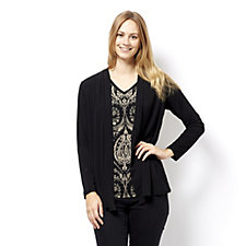 Printed Cardigan & Vest Set by Susan Graver
