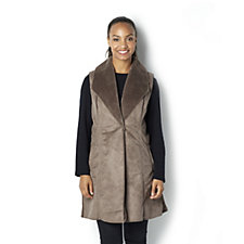 Dennis Basso Faux Suede Bonded Shearling Long Waistcoat