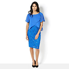 Ronni Nicole Lace Dress with Chiffon Overlay & Flutter Sleeves
