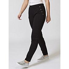 Denim & Co. Straight Leg Grommet Trim Detail Trousers with Pockets