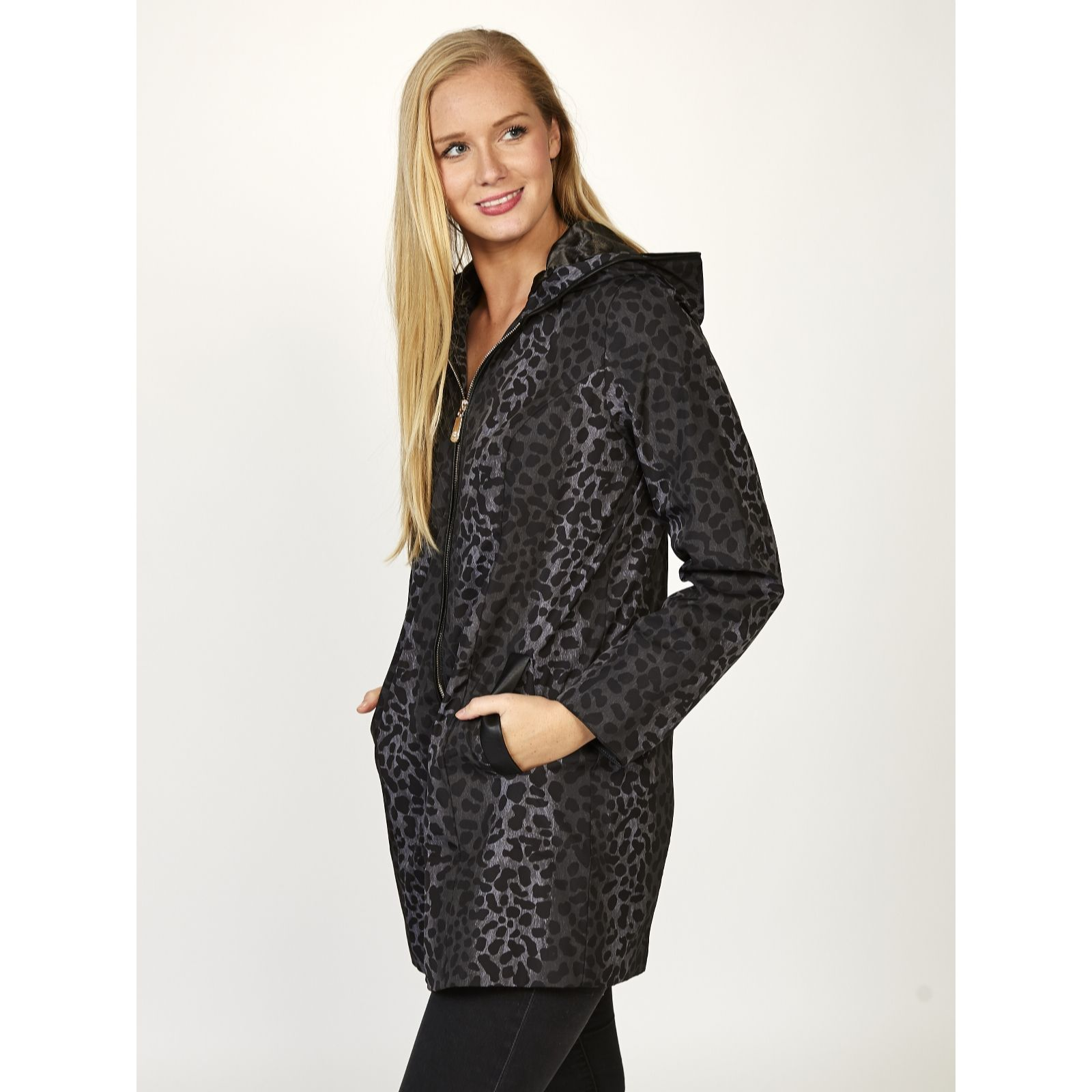 Coats and jackets qvc uk dennis basso water resistant leopard print jacket 167076 ccuart Gallery