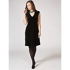 Ronni Nicole Velvet Dress with Rhinestone Neck Detail