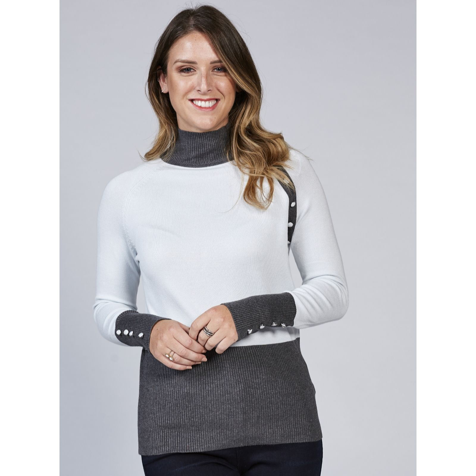 Marble Soft Touch Polo Neck with Contrast & Buttons at Neck