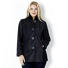 Bob Mackie Long Sleeve Printed Fur Collar Fleece Jacket