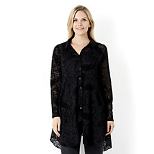 Flocked Paisley Lace Shirt by Michele Hope