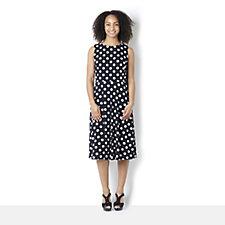 Ronni Nicole 'O So Slim' Sleeveless Jersey Spot Midi Dress with Flared Skirt