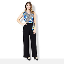 Tiana B Faux Wrap Jumpsuit with Floral Stripe Bodice