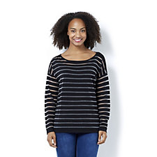 Marble Two Piece Fitted Burn Out Stripe Sweater with Matching Vest Top