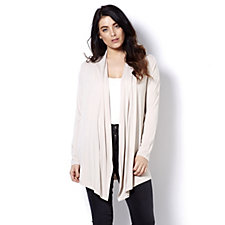 Logo by Lori Goldstein Draped Front Cardigan with Pleats