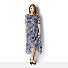 Ronni Nicole Printed Swing Dress w/Handkerchief Hem