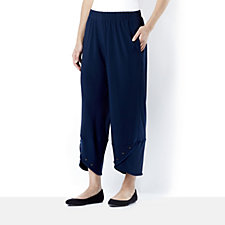 Yong Kim Stretch Jersey Cropped Trousers with Button Cuff