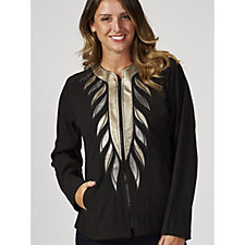 Bob Mackie Collarless Leaf Applique Detail Jacket